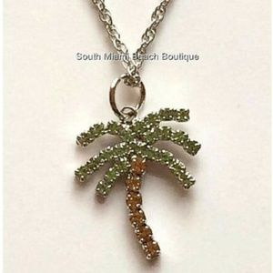 """Jewelry - Silver Crystal Palm Tree Necklace 24"""" Coconut"""